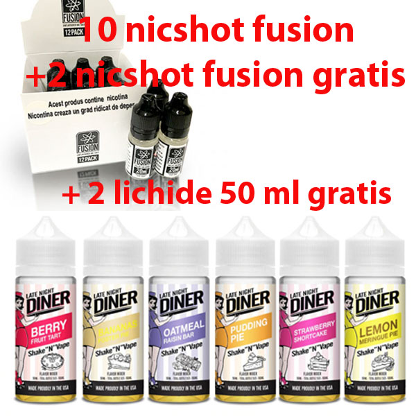 (10+2) fusion by Halo nicshot pachet 12 bucati + 2 Lichide Halo 50 ml GRATIS (Late Night Dinner)