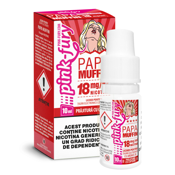 Din categoria 10 ml pink fury cu nicotina - Pink fury - 10 ml cu nicotina - Prajitura cu capsuni - 18 mg/ml